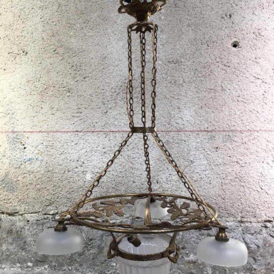 Антикварная бронзовая люстра в стиле Арт-Деко 180927002У