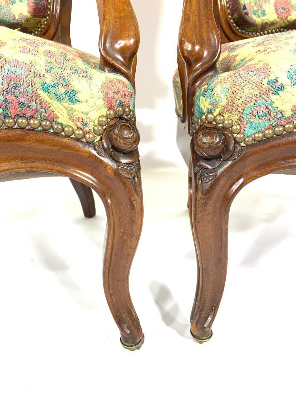 Антикварная пара кресел из красного дерева 190422003У
