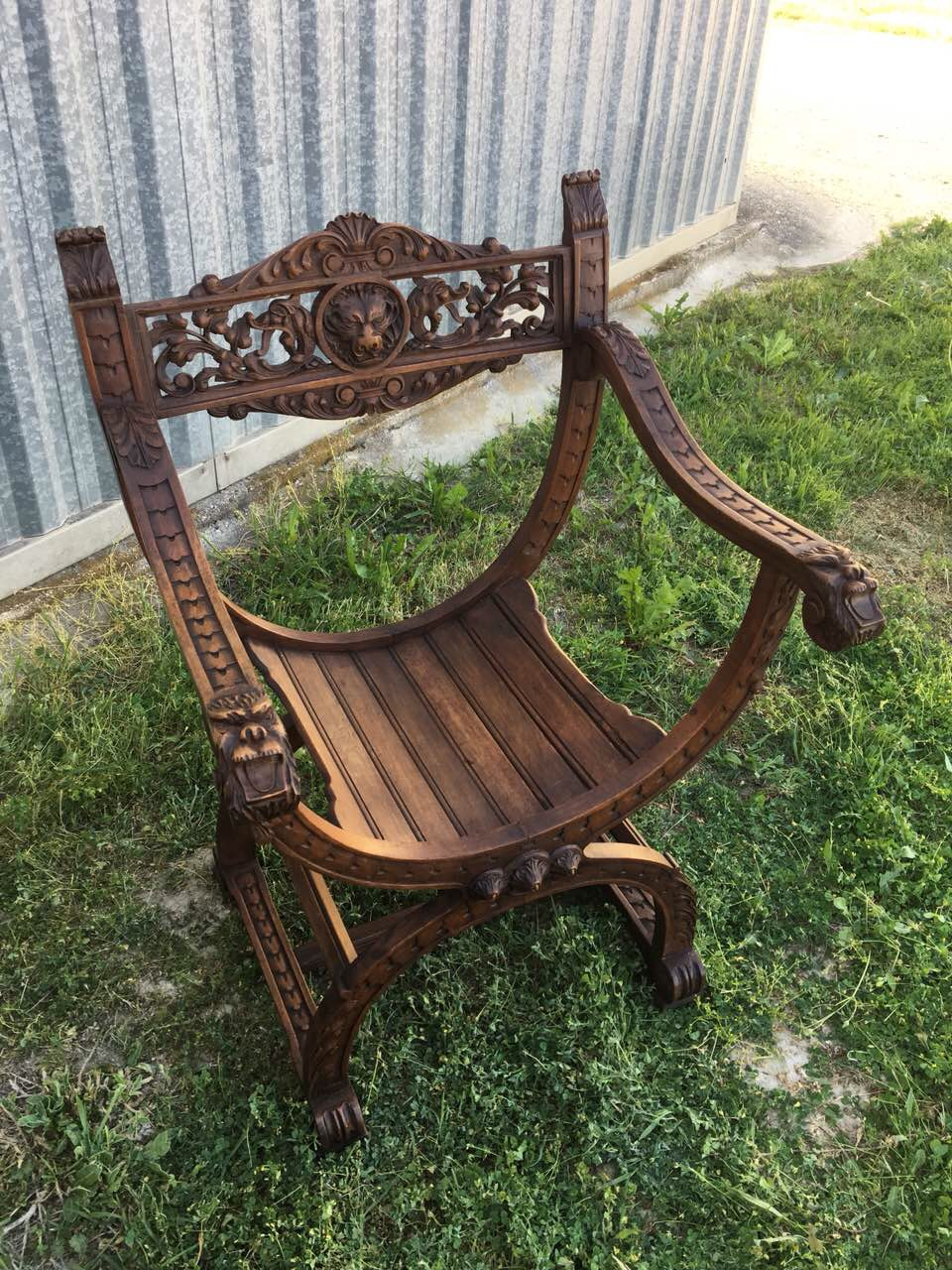 Антикварное курульное кресло 180425001