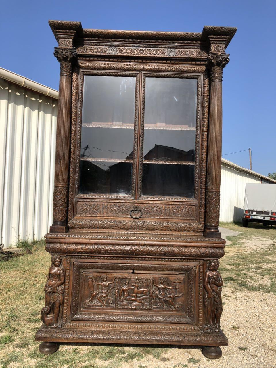 Антикварная дубовая библиотека 190628004У
