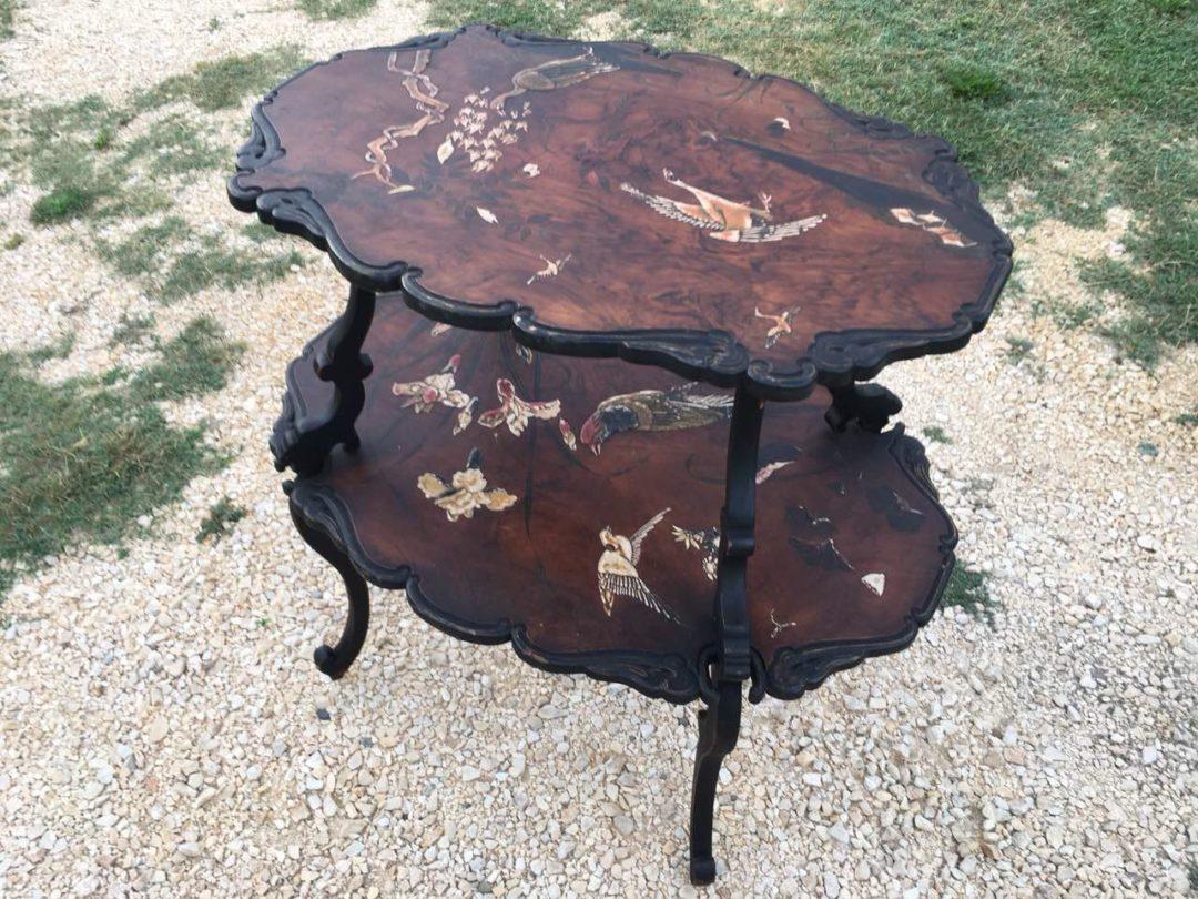 Винтажный двухэтажный столик с росписью 180919003