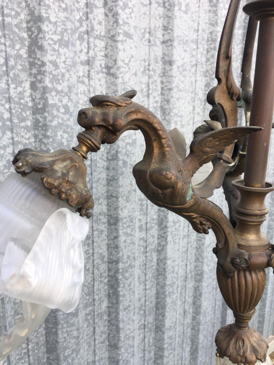 Антикварная бронзовая люстра с химерами 180508020