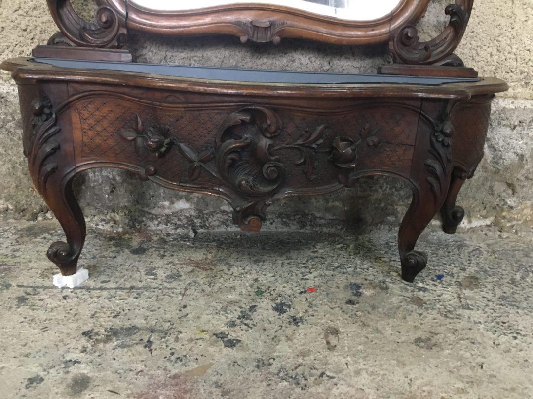 Антикварное напольное зеркало с жардиньерой в стиле Рококо 181213006