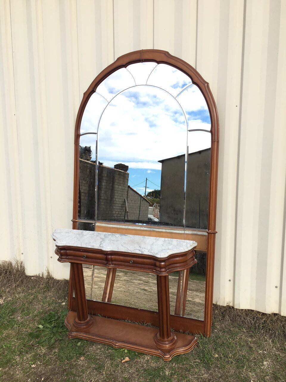 Винтажные зеркало с консолью с фигурными зеркалами 181210003