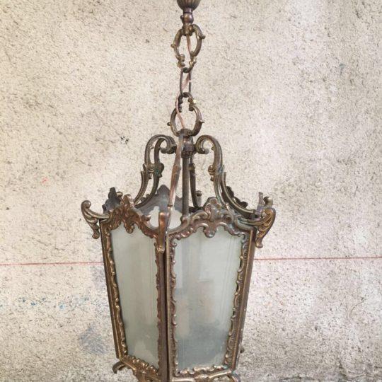 Винтажный бронзовый фонарь с матовым стеклом 180928080У