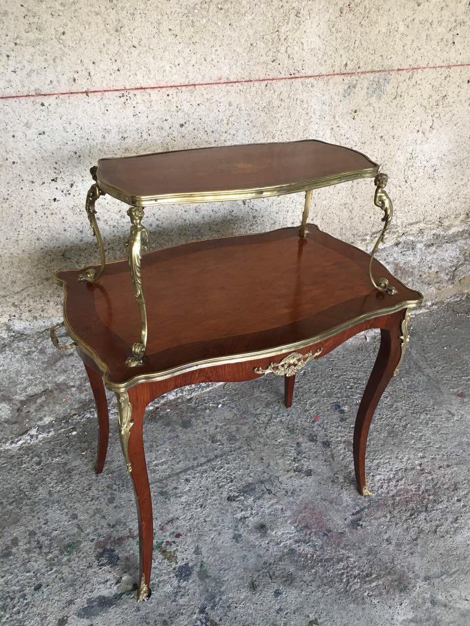 Антикварный двух этажный столик с элементами бронзы 180830005
