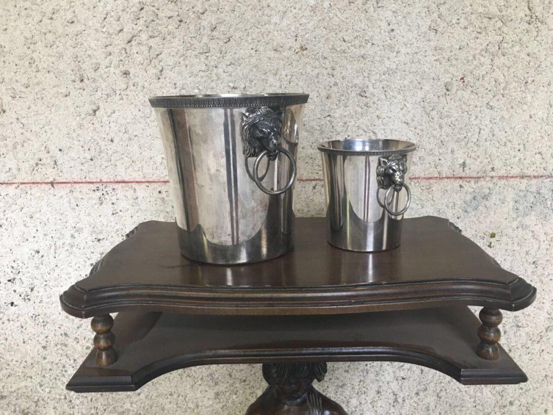 Винтажная пара вёдер для напитков и льда из посеребрённого метала 180717061