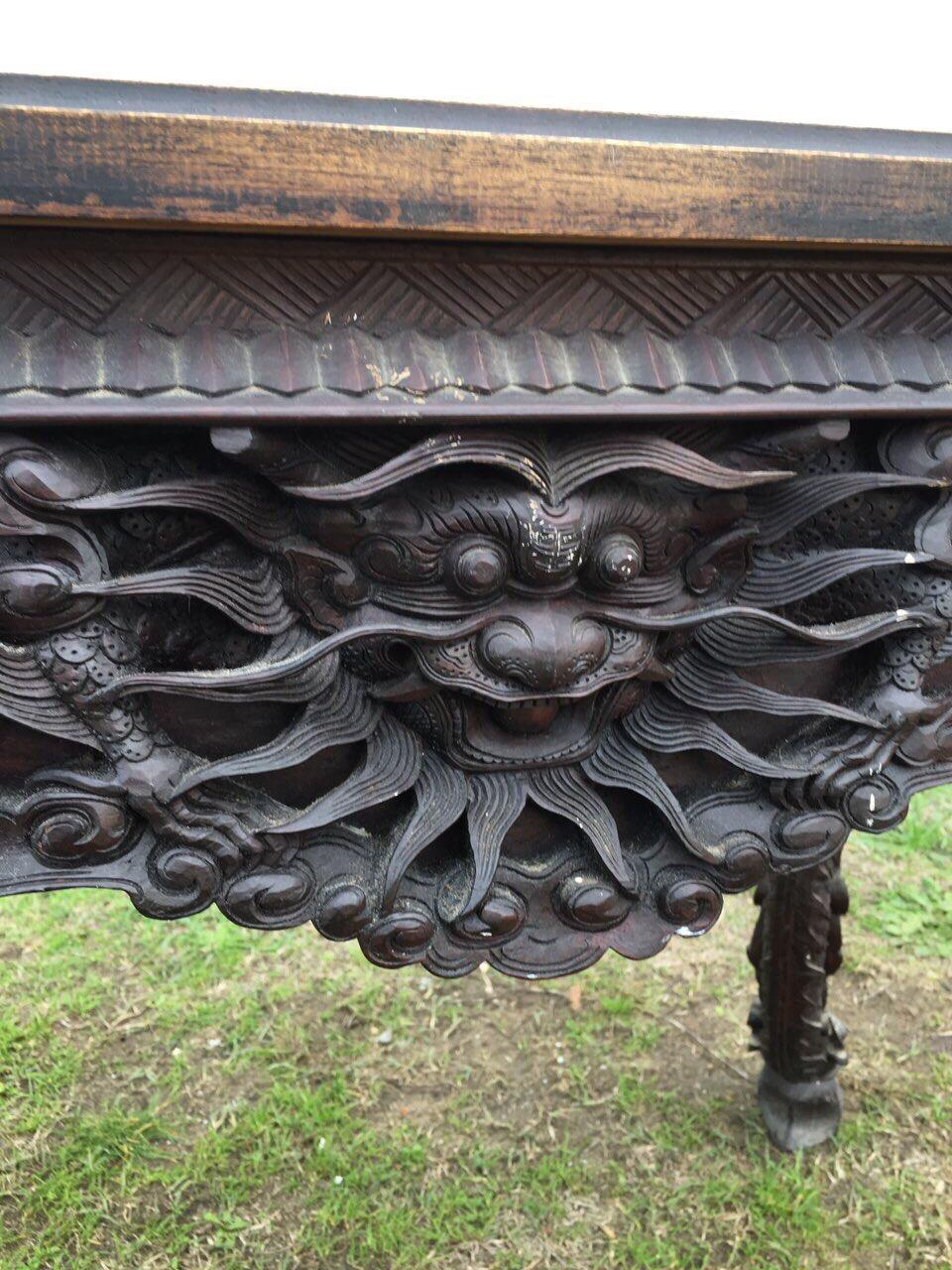 Винтажный резной стол из экзотического дерева 181205005