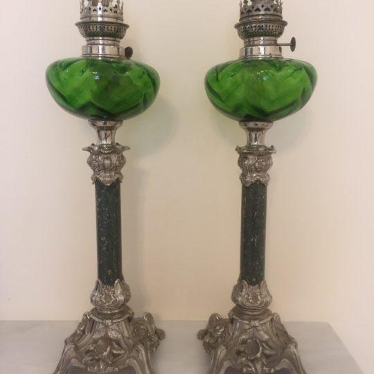 Антикварные керосиновые парные лампы