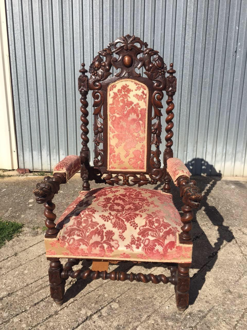 Антикварное резное кресло в стиле Ренессанс 20160410001