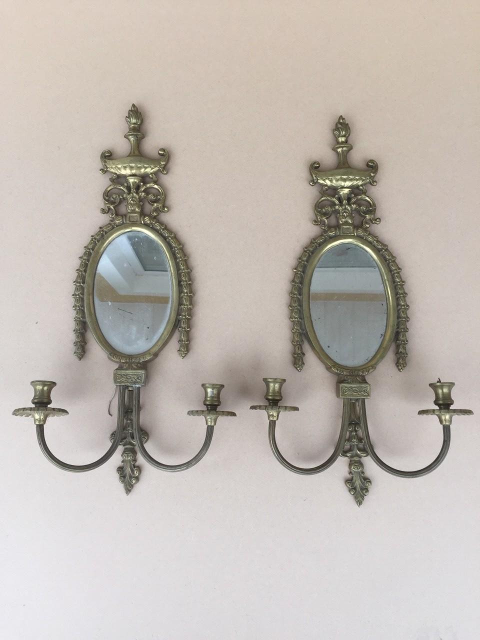 Антикварные бронзовые бра с зеркалами