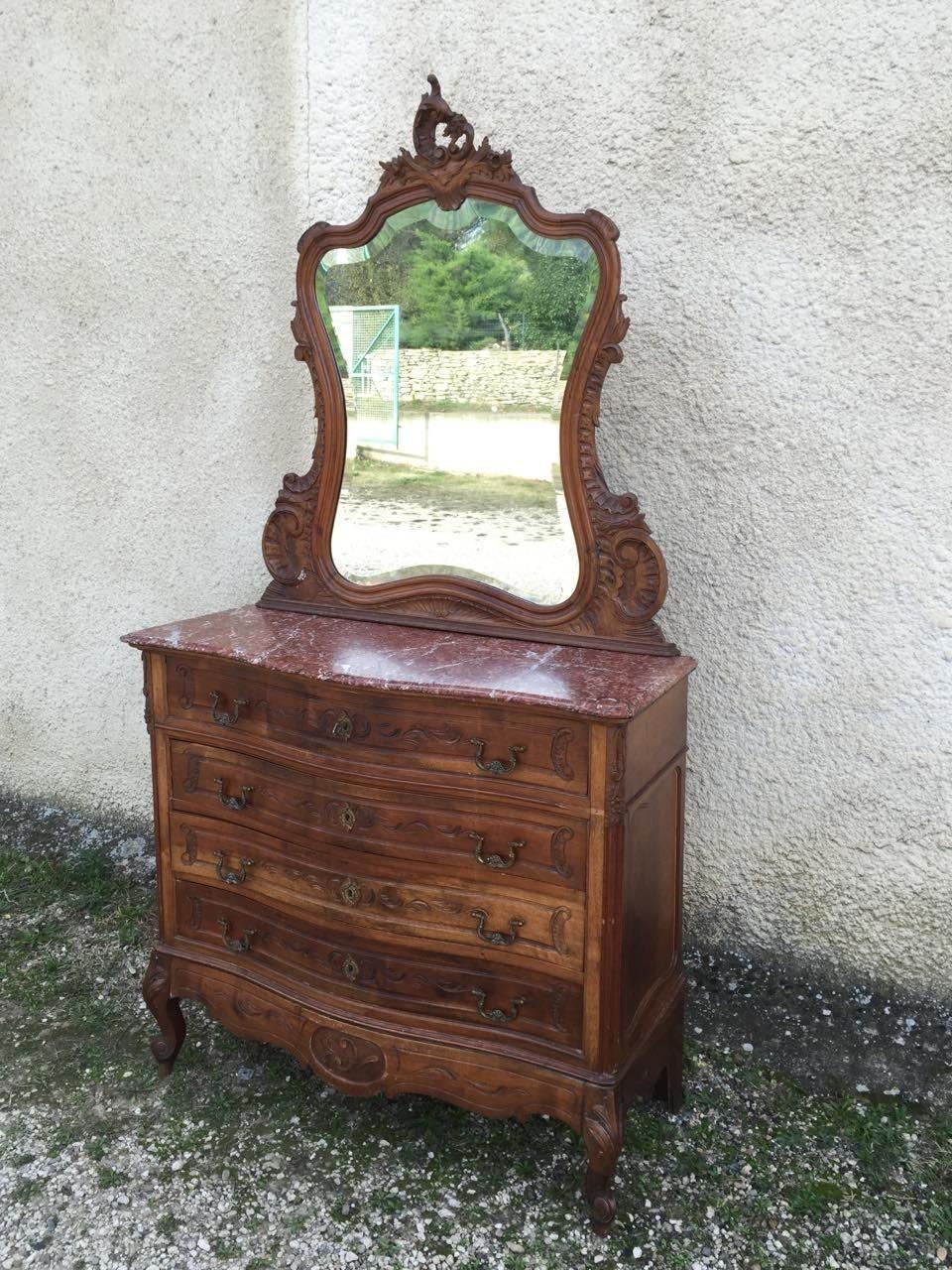 Антикварный комод с зеркалом в стиле Рококо
