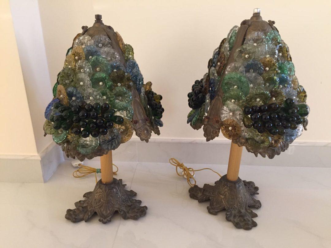 Антикварные бронзовые лампы со стеклом Мурано