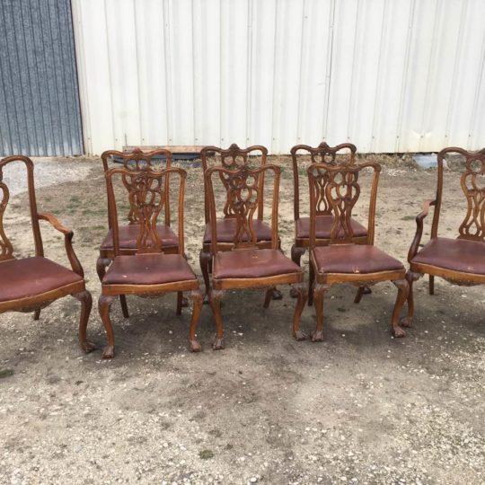 Антикварная мебель: 2 кресла и 6 стульев в стиле Чиппендейл 180124009