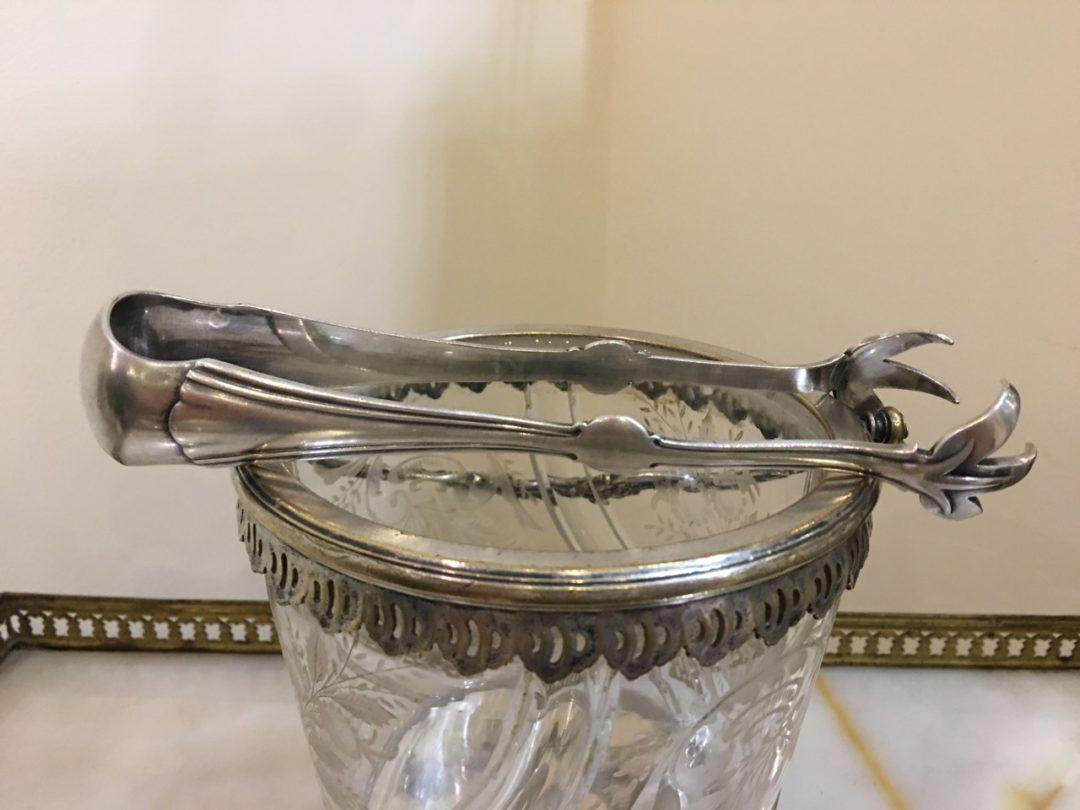Антикварное хрустальное ведерко для льда со щипчиками 171018002