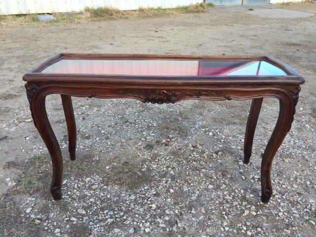Антикварный ореховый столик-витрина 171024001