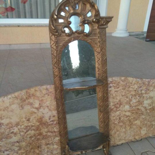 Антикварная навесная полка с зеркалом в стиле Рококо 171228001У