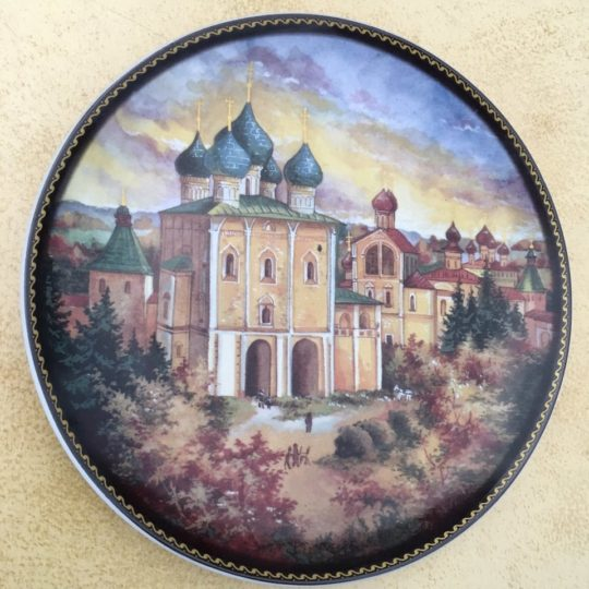 Винтажная росписная тарелка