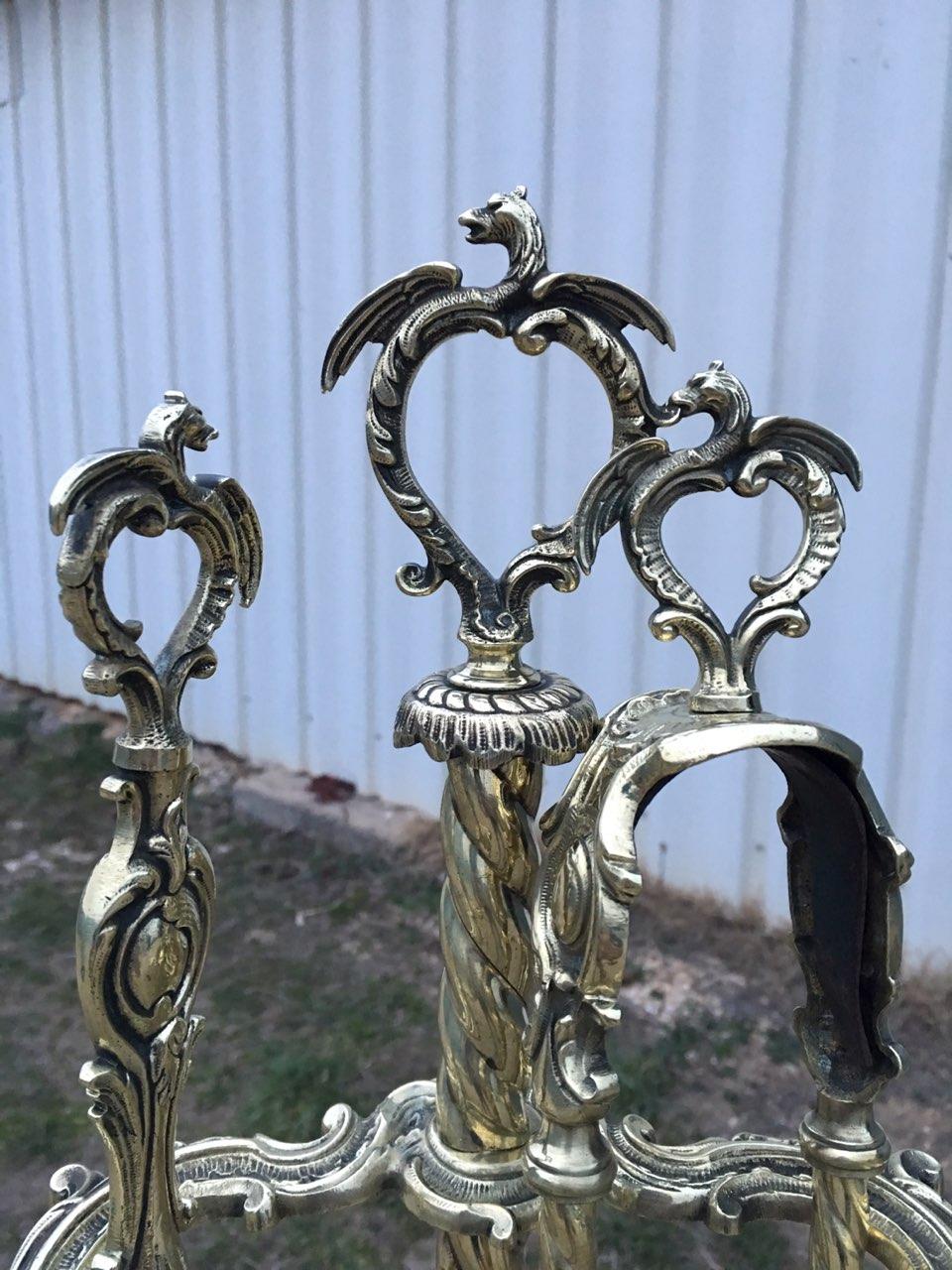 Антикварные бронзовые каминные принадлежности  180225001У