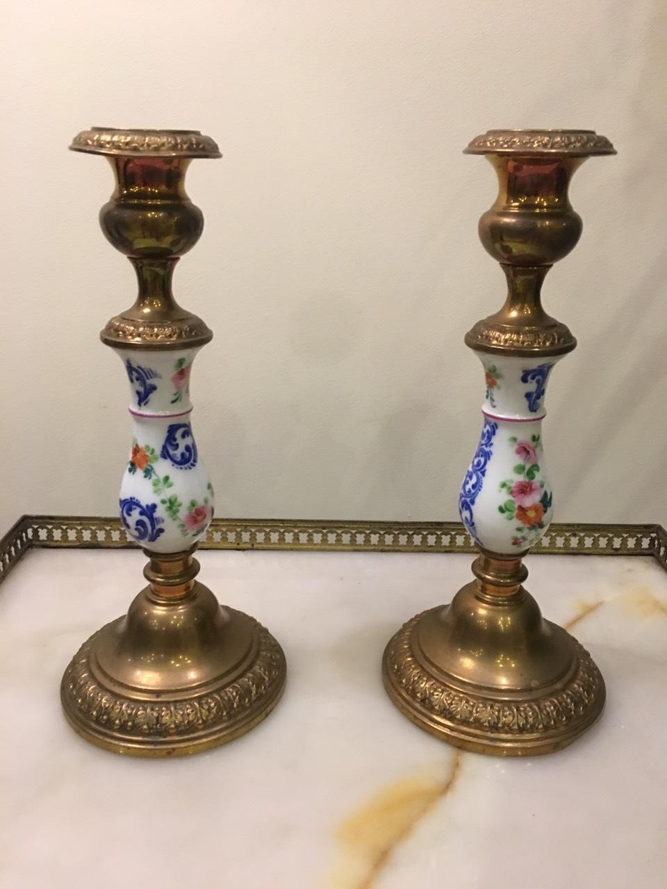 Антикварные подсвечники с фарфоровыми вставками 171024001