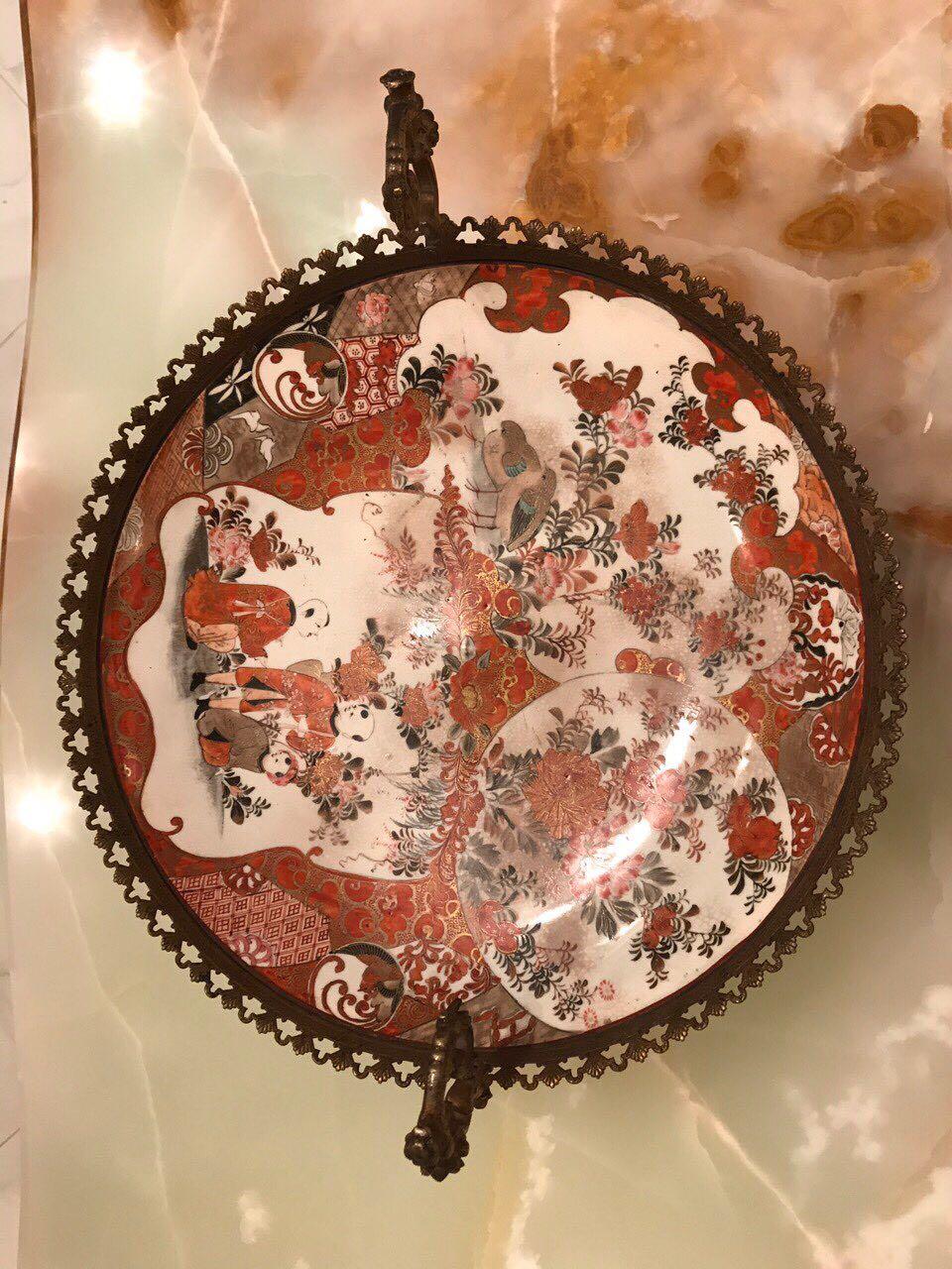 Антикварная японская фруктовница в бронзовой оправе 110818001
