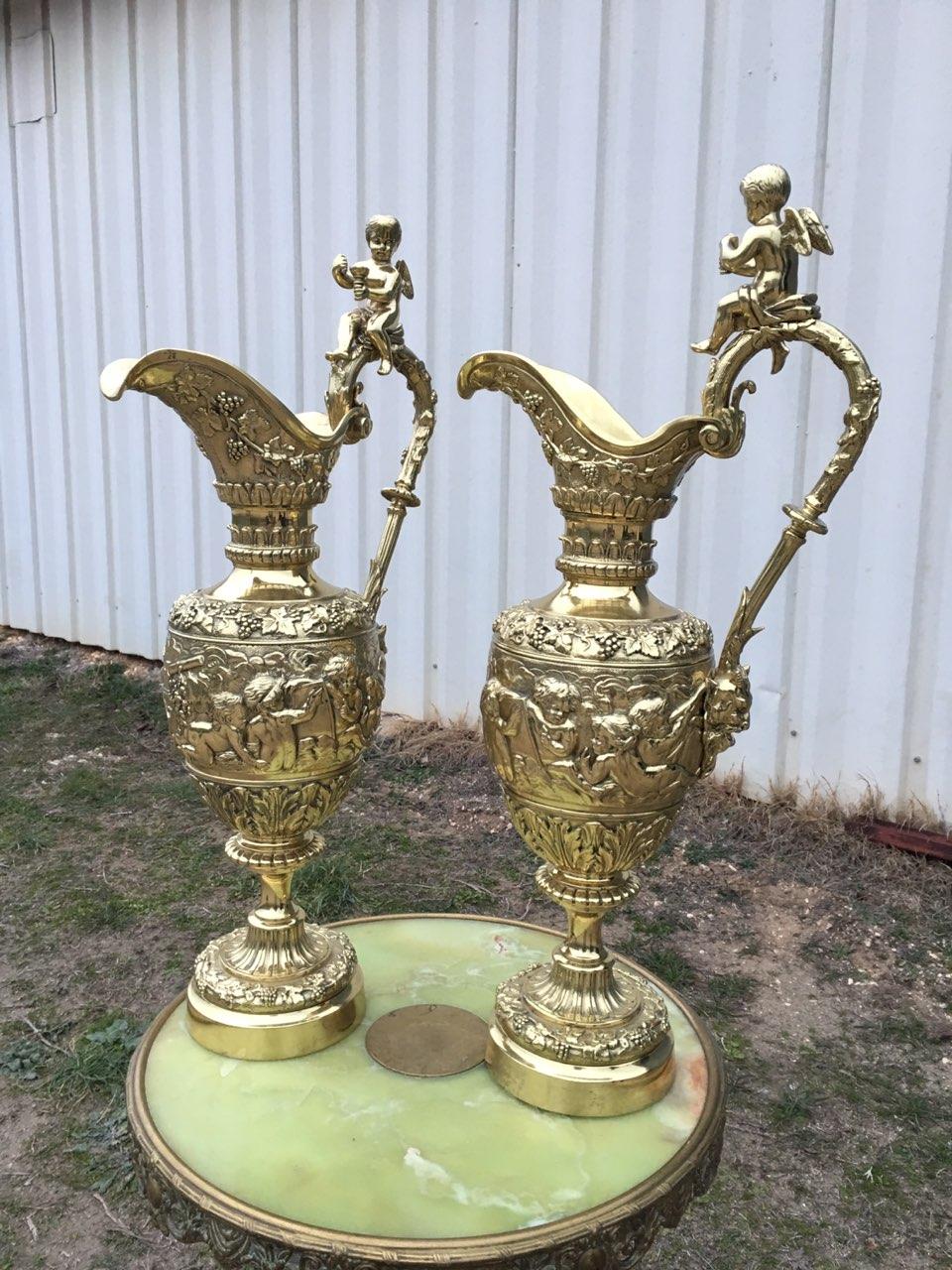 Винтажные бронзовые парные вазы 180225004