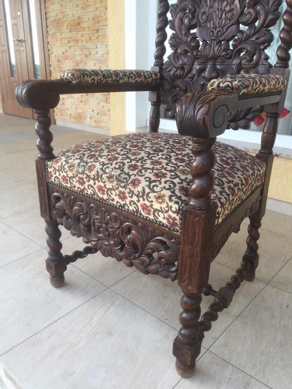 Антикварные дубовое кресло в стиле Неоренессанс 20170515002
