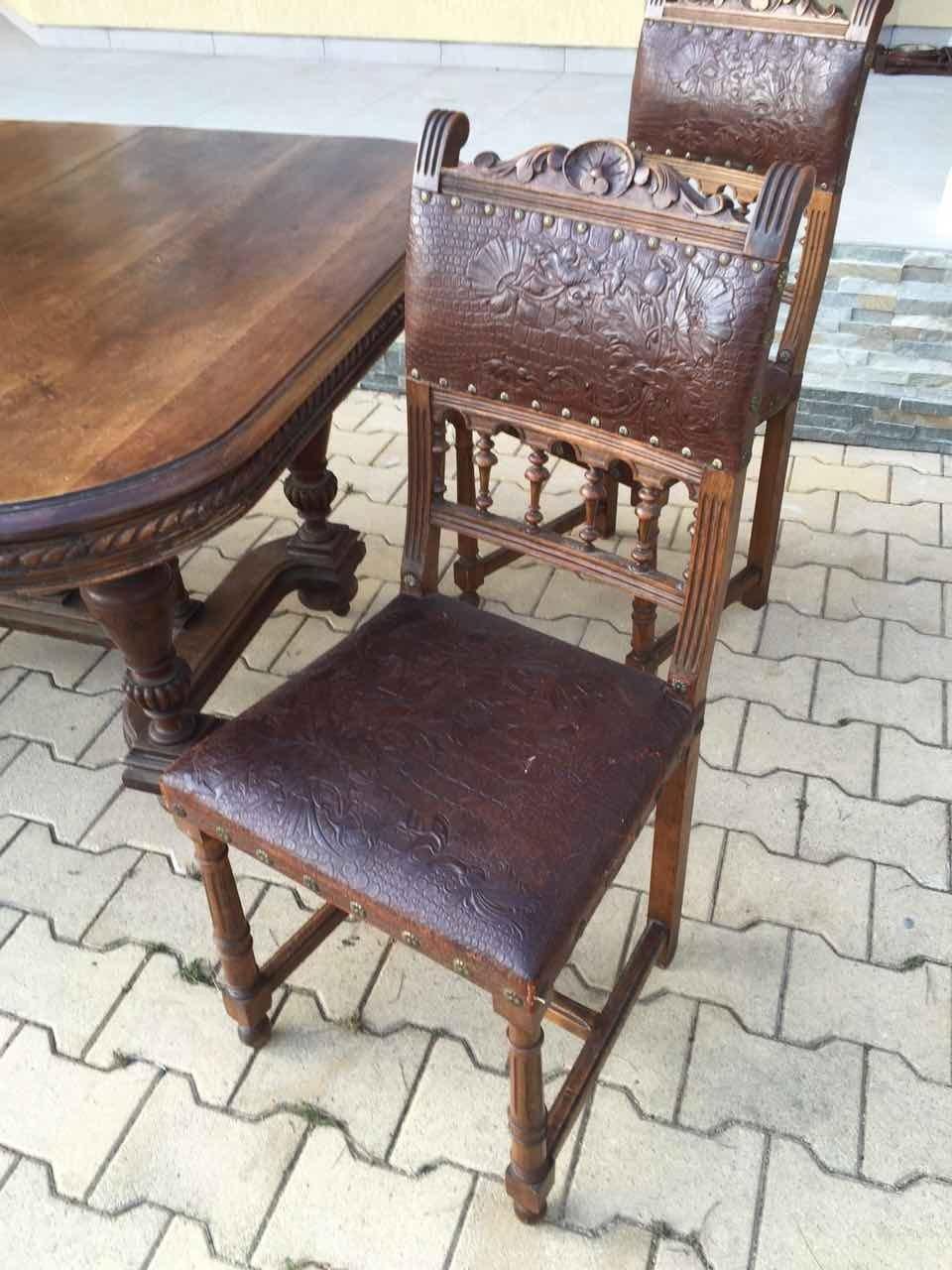 Антикварный ореховый стол и 4 стула в стиле Генрих 20170528001