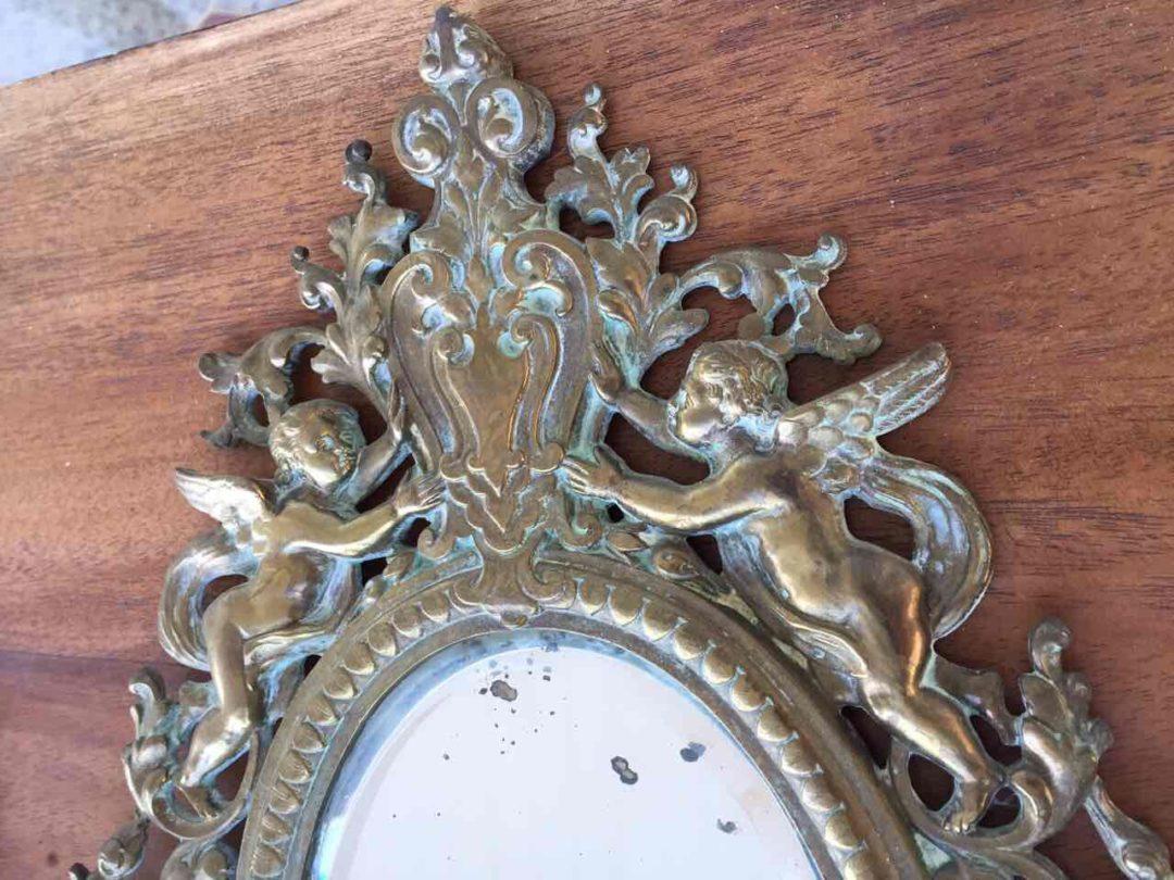 Антикварная пара бронзовых бра с зеркалом в стиле Ренессанс 20170611003