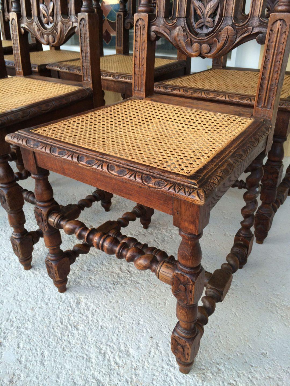 Старинные дубовые стулья с ротангом в стиле Ренессанс (8 штук)