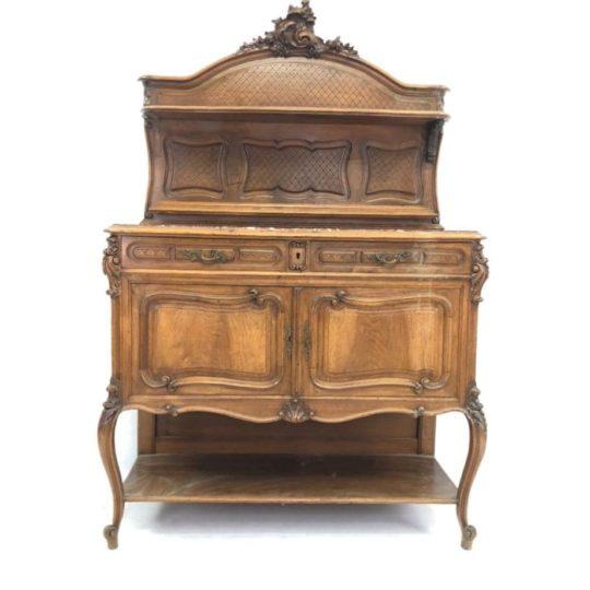 Антикварный ореховый посудник в стиле Рококо 191216004У