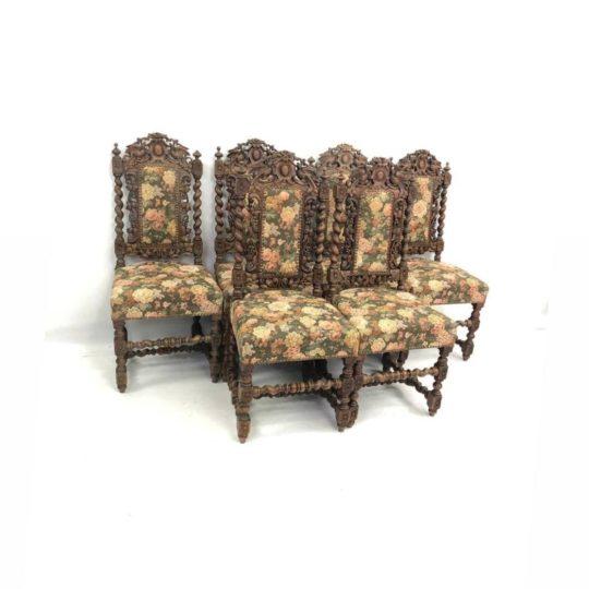 Антикварные дубовые стулья в стиле Генрих 191214003