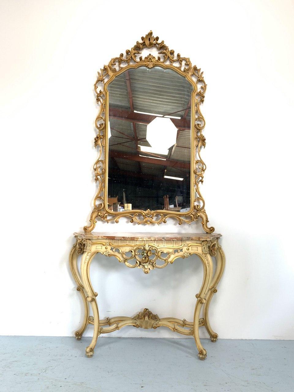 Винтажная консоль с зеркалом в Венецианском стиле
