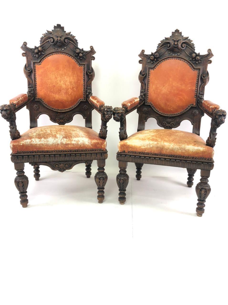 Антикварные кресла в стиле Ренессанс