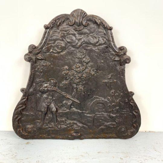 Антикварная чугунная плита для камина