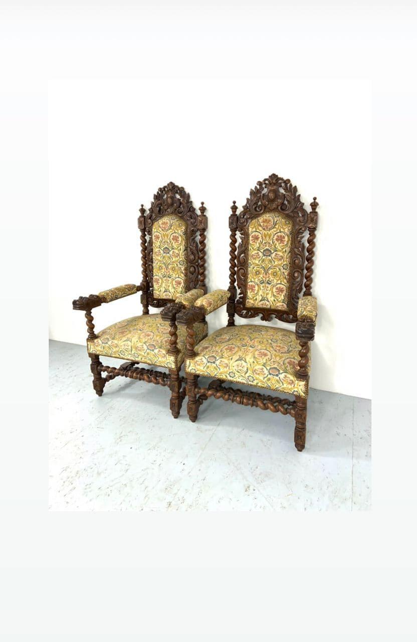 Антикварные дубовые кресла в стиле Нео-Ренессанс