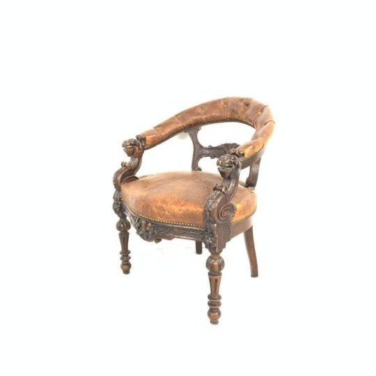 Антикварное кабинетное кресло в стиле Ренессанс