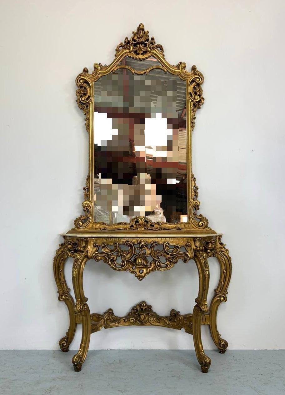 Антикварная консоль с зеркалом в стиле Барокко