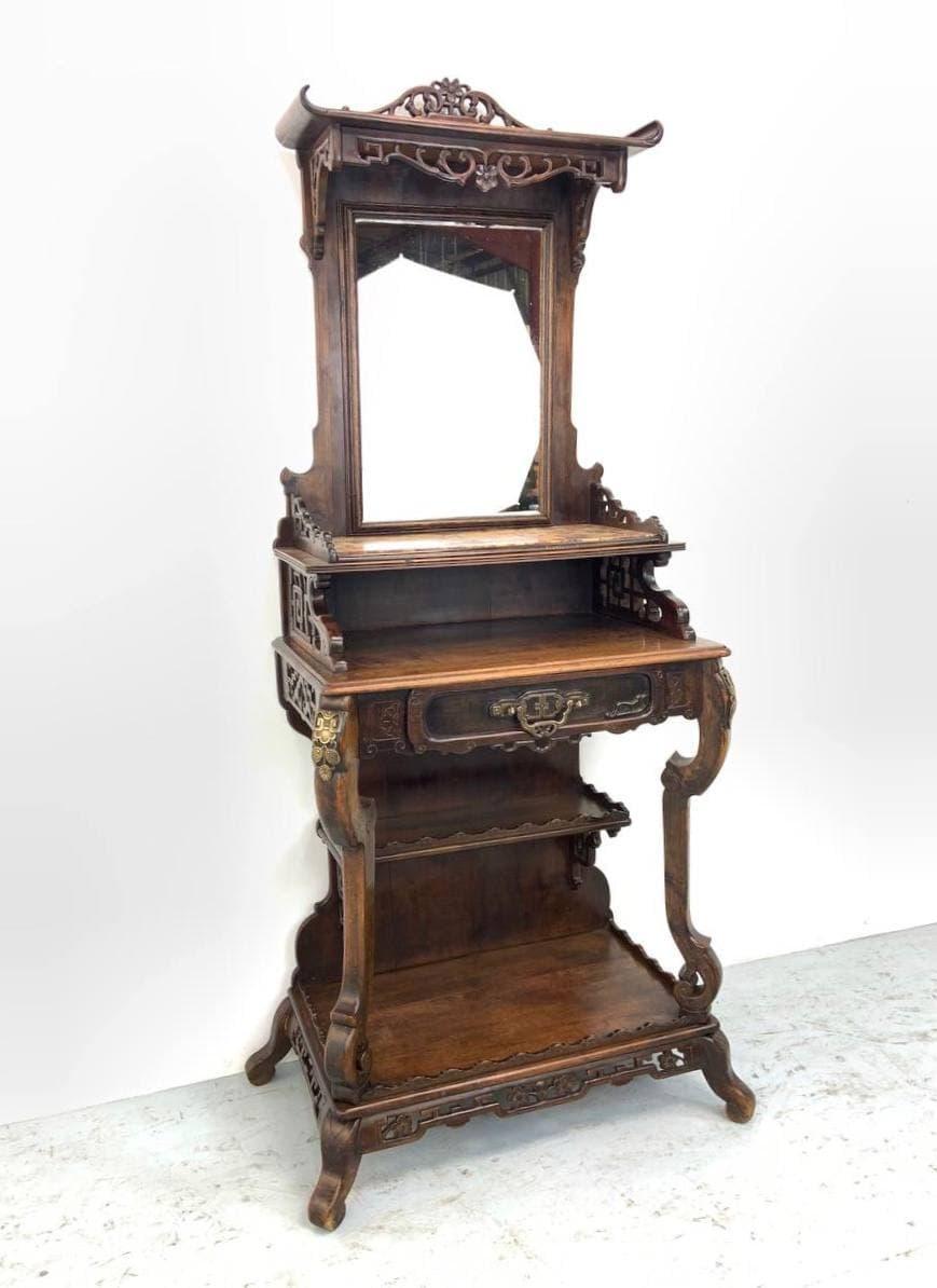 Антикварная консоль с зеркалом  в стиле Виардо