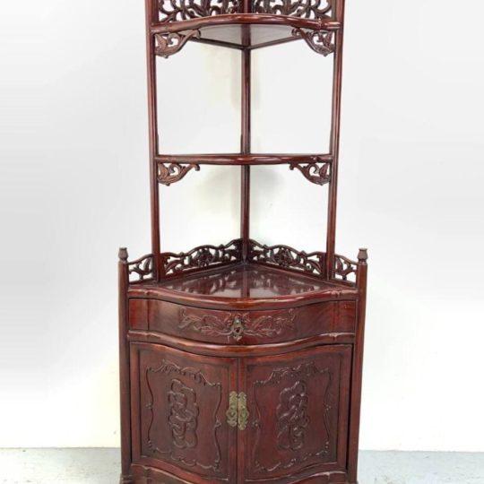Винтажный угловой шкафчик-полка в стиле Шинуазри