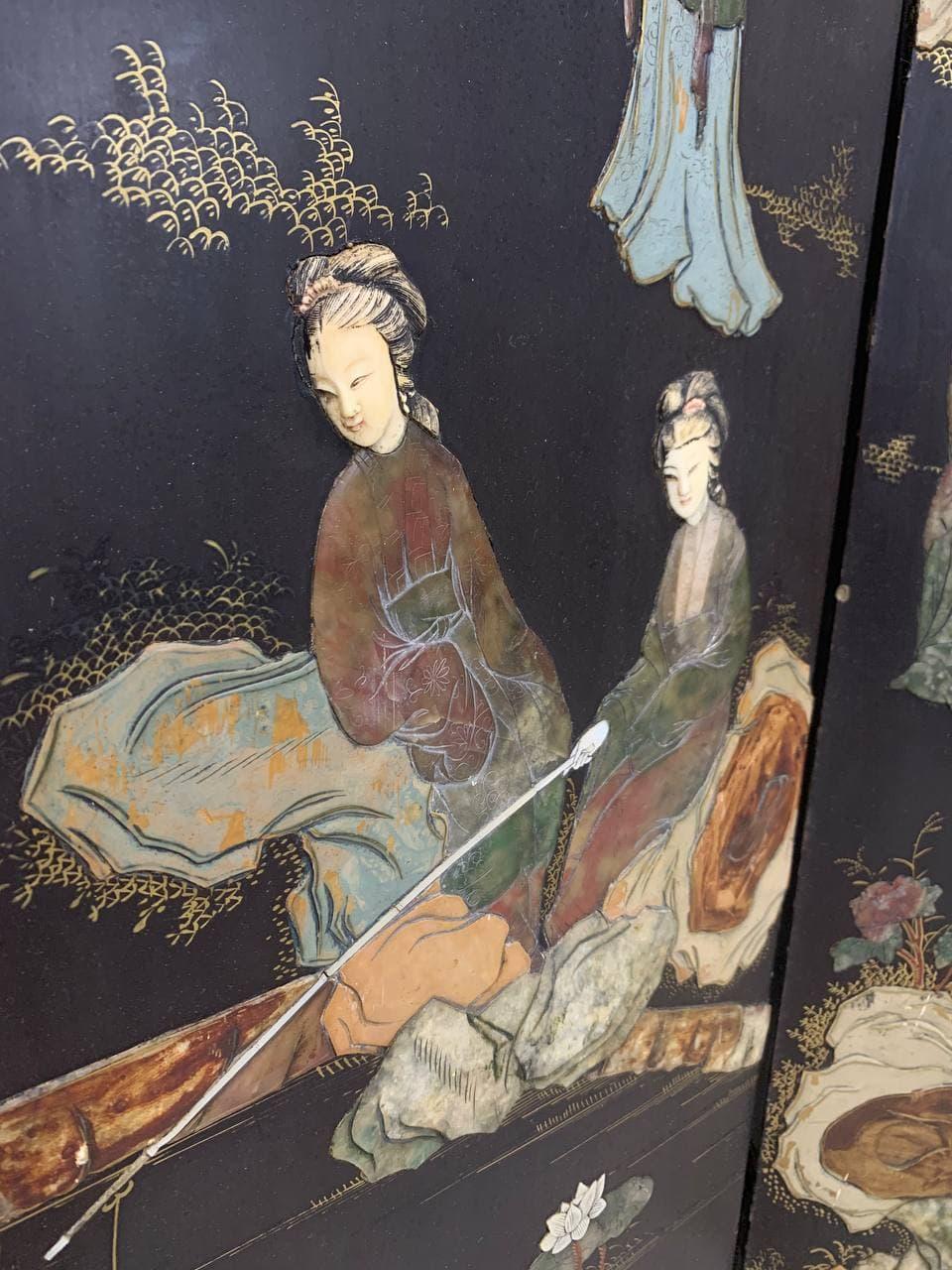 Антикварная маленькая ширма в стиле Шинуазри