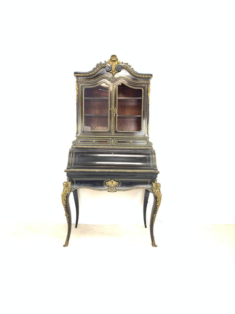 Антикварный секретер-витрина эпохи Наполеона III