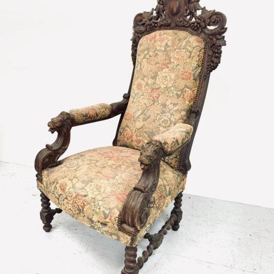 Антикварное дубовое кресло в стиле Неоренессанс